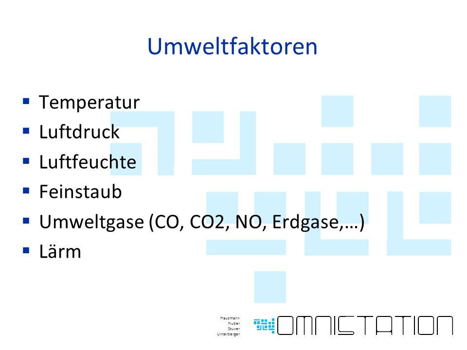 Umweltfaktoren  Temperatur  Luftdruck  Luftfeuchte  Feinstaub  Umweltgase (CO, CO2, NO, Erdgase,…)  Lärm Hausmann Huber Stuxer Unterberger