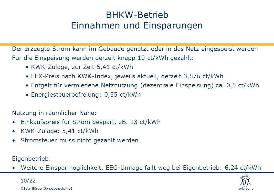 ©Solar-Bürger-Genossenschaft eG 10/22 solargeno BHKW-Betrieb Einnahmen und Einsparungen Der erzeugte Strom kann im Gebäude genutzt oder in das Netz ei