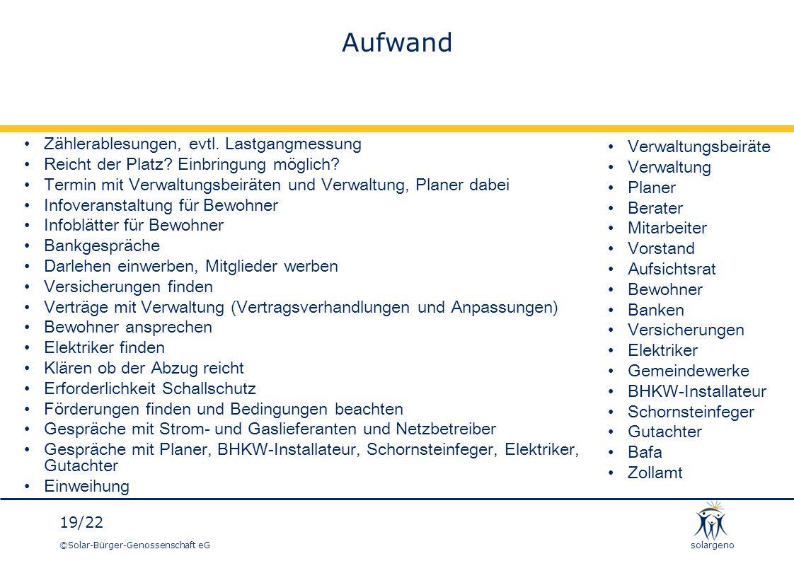 ©Solar-Bürger-Genossenschaft eG 19/22 solargeno Aufwand Zählerablesungen, evtl. Lastgangmessung Reicht der Platz? Einbringung möglich? Termin mit Verw