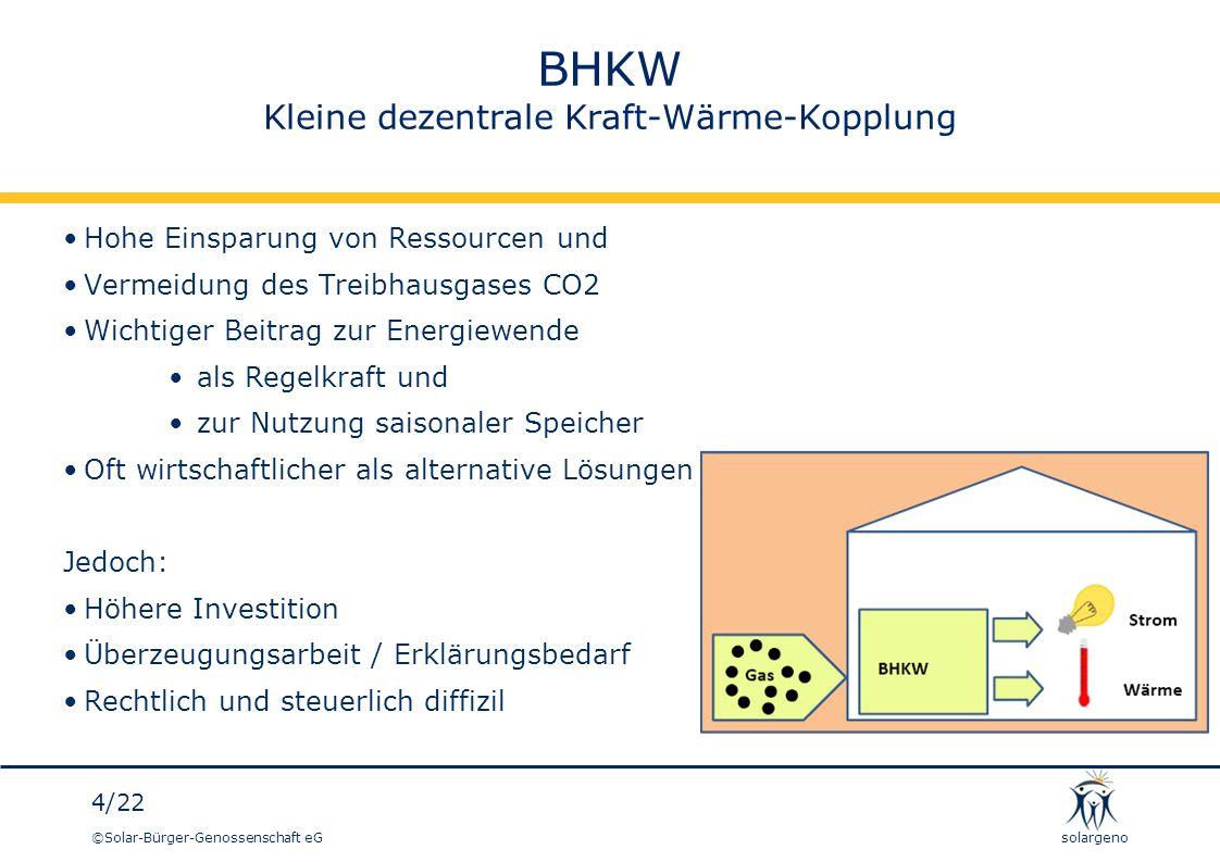 ©Solar-Bürger-Genossenschaft eG 15/22 solargeno Aktuelles Projekt Wohngebäude mit 45 Parteien BHKW: 16 kWel, 35,3 kWth Strombedarf ca.