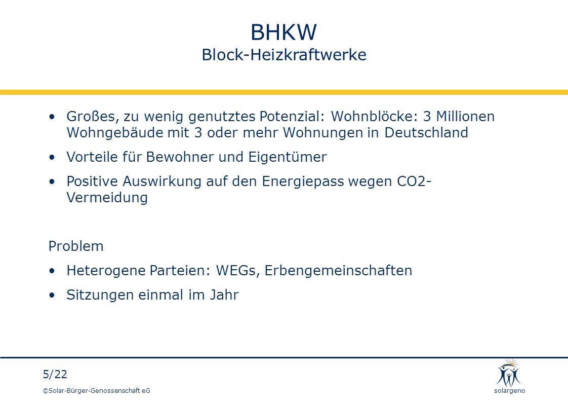 ©Solar-Bürger-Genossenschaft eG 6/22 solargeno Solar-Bürger-Genossenschaft eG - Blockheizkraftwerke - Modell der solargeno: Entlastung der WEG von Kosten und Aufwand Gründung einer Betreiber-GbR für den Eigenverbrauch von Strom Finanzierung des BHKW Vermietung des BHKW an die Betreiber-GbR Betriebsführung des BHKW im Auftrag der Betreiber-GbR