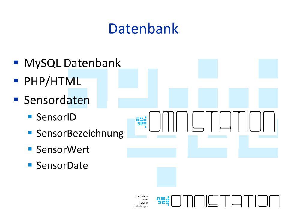 Datenbank  MySQL Datenbank  PHP/HTML  Sensordaten  SensorID  SensorBezeichnung  SensorWert  SensorDate Hausmann Huber Stuxer Unterberger