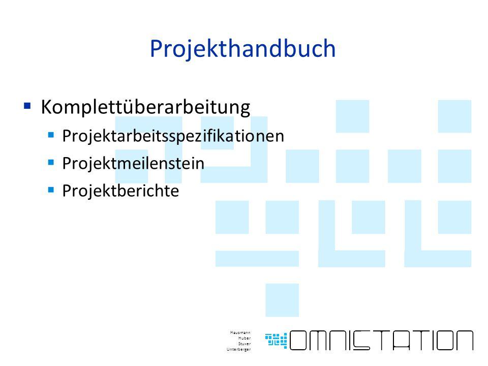 Projekthandbuch  Komplettüberarbeitung  Projektarbeitsspezifikationen  Projektmeilenstein  Projektberichte Hausmann Huber Stuxer Unterberger