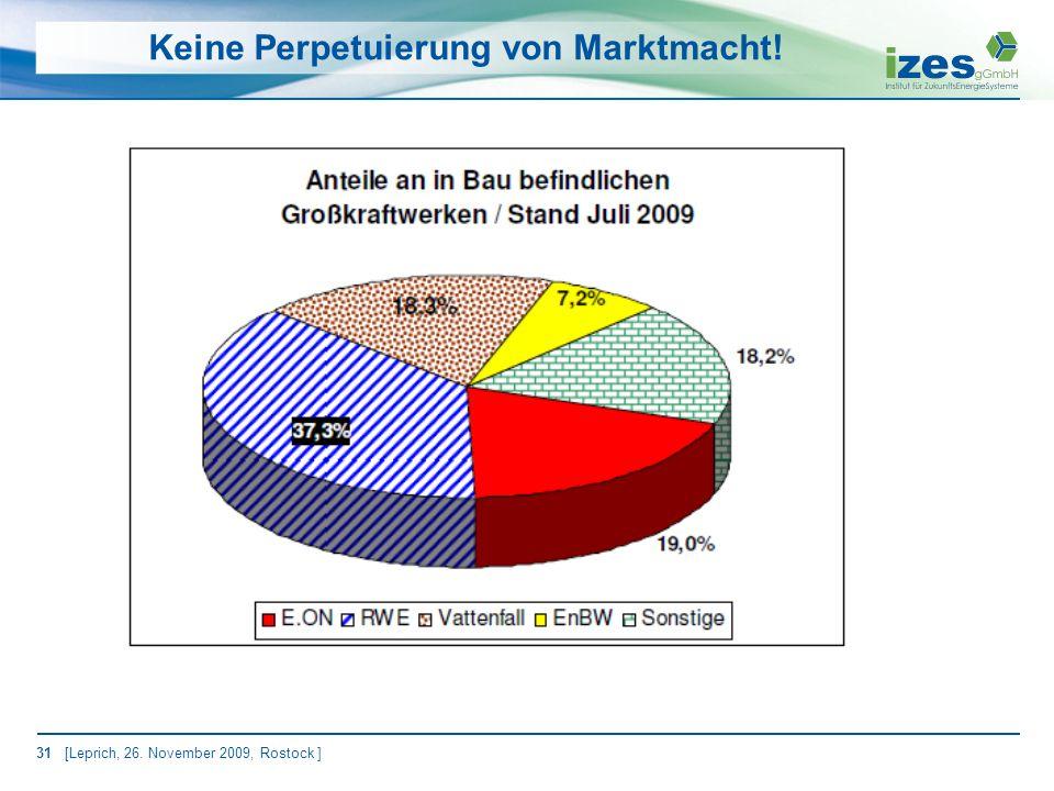 31 [Leprich, 26. November 2009, Rostock ] Keine Perpetuierung von Marktmacht!