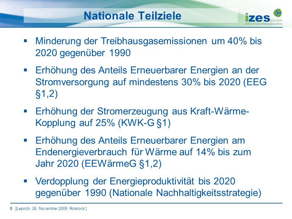 19 [Leprich, 26. November 2009, Rostock ] Quelle: Enquete 2002 Elemente eines Policy Mix