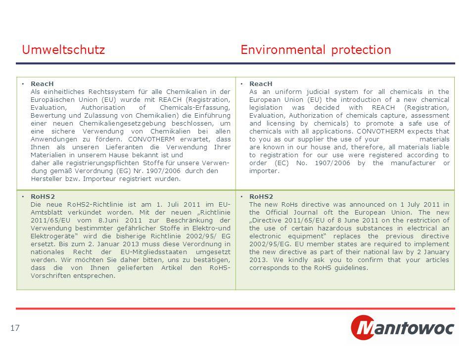 17 UmweltschutzEnvironmental protection ReacH Als einheitliches Rechtssystem für alle Chemikalien in der Europäischen Union (EU) wurde mit REACH (Regi