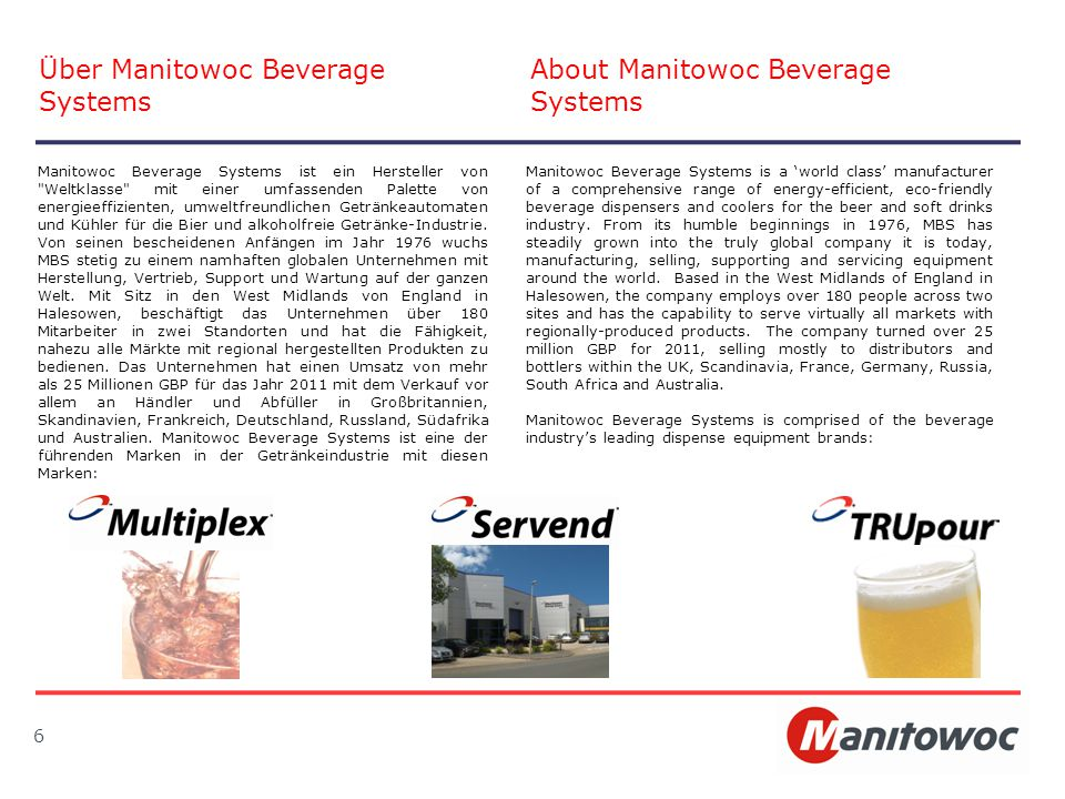 6 Über Manitowoc Beverage Systems About Manitowoc Beverage Systems Manitowoc Beverage Systems is a 'world class' manufacturer of a comprehensive range