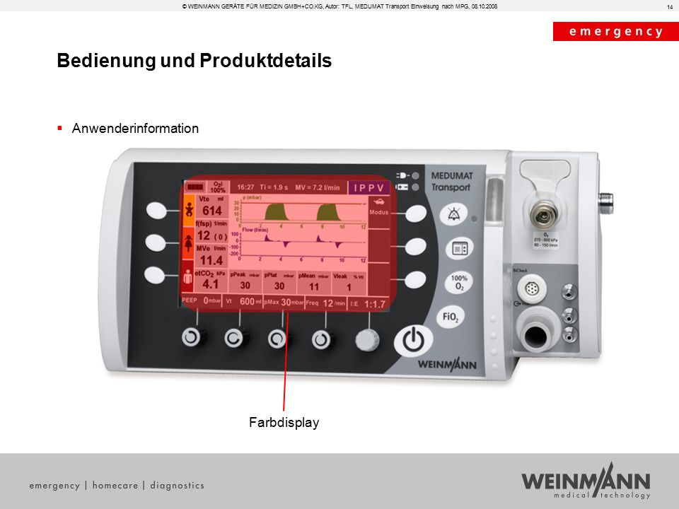 Bedienung und Produktdetails © WEINMANN GERÄTE FÜR MEDIZIN GMBH+CO.KG, Autor: TFL, MEDUMAT Transport Einweisung nach MPG, 08.10.2008  Anwenderinformation 14 Farbdisplay