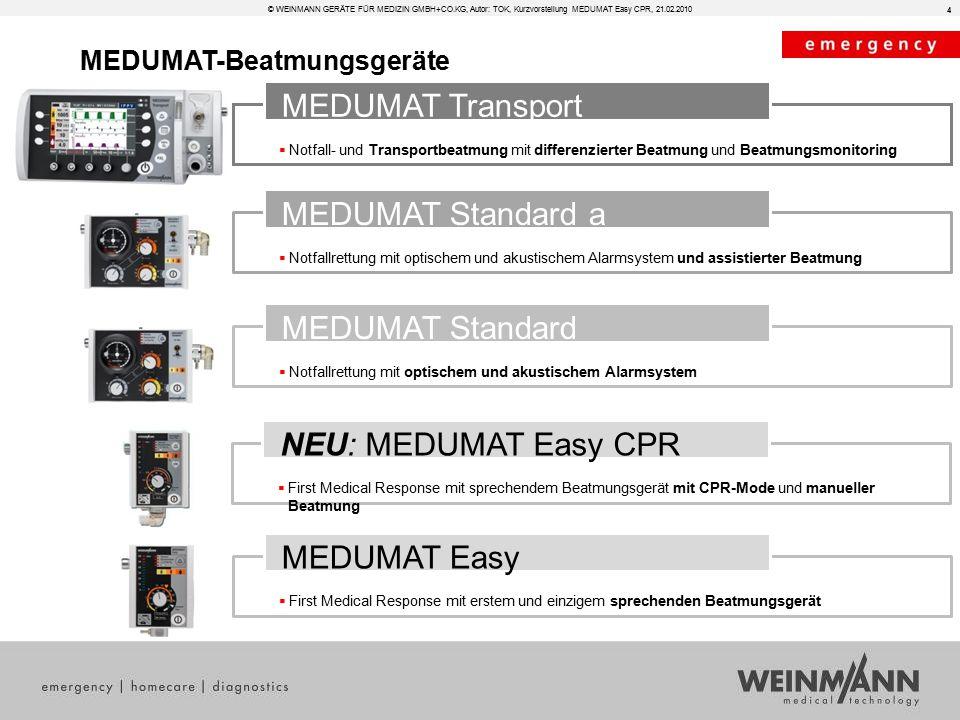  Notfall- und Transportbeatmung mit differenzierter Beatmung und Beatmungsmonitoring MEDUMAT Transport  Notfallrettung mit optischem und akustischem