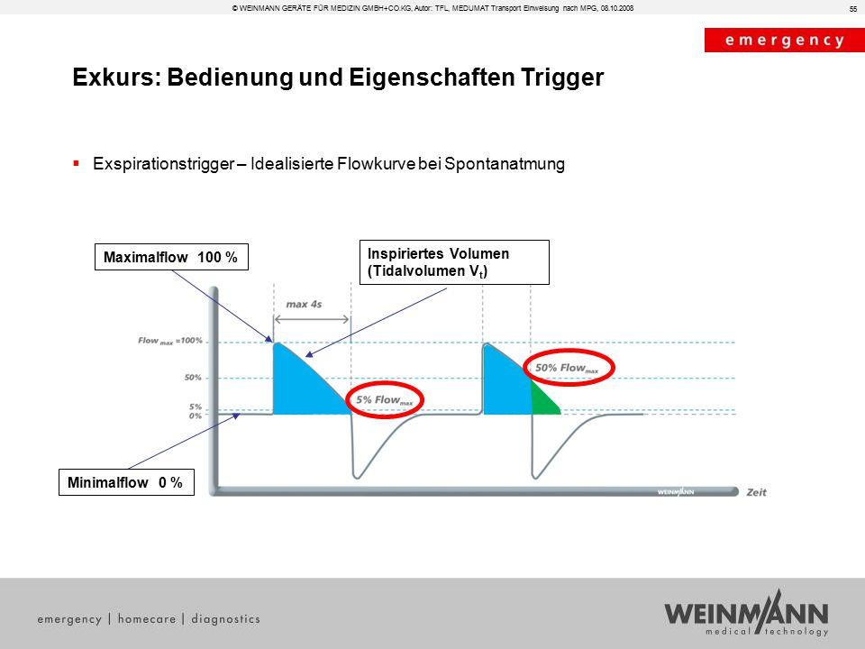 Exkurs: Bedienung und Eigenschaften Trigger  Exspirationstrigger – Idealisierte Flowkurve bei Spontanatmung 55 © WEINMANN GERÄTE FÜR MEDIZIN GMBH+CO.