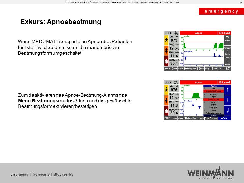Exkurs: Apnoebeatmung 60 © WEINMANN GERÄTE FÜR MEDIZIN GMBH+CO.KG, Autor: TFL, MEDUMAT Transport Einweisung nach MPG, 08.10.2008 Wenn MEDUMAT Transpor