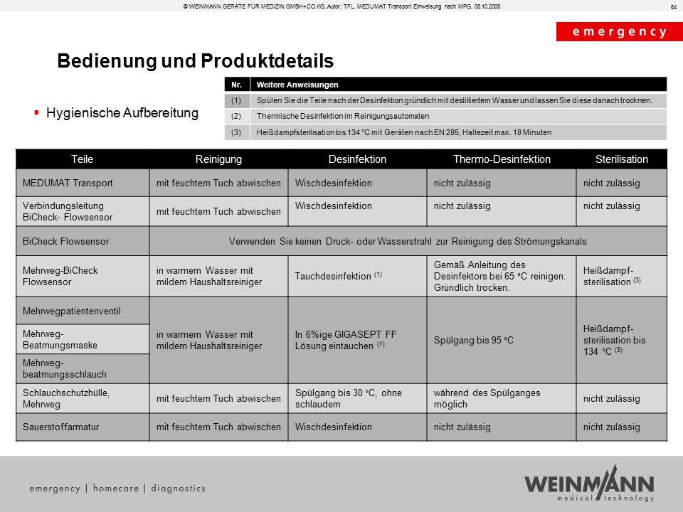 Bedienung und Produktdetails © WEINMANN GERÄTE FÜR MEDIZIN GMBH+CO.KG, Autor: TFL, MEDUMAT Transport Einweisung nach MPG, 08.10.2008  Hygienische Auf