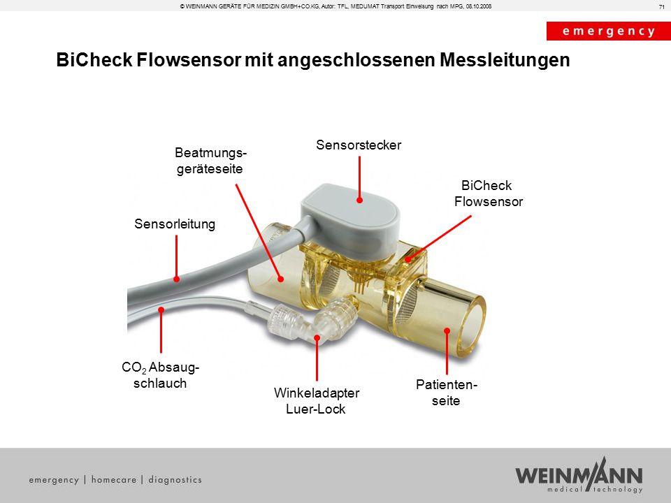 BiCheck Flowsensor mit angeschlossenen Messleitungen Sensorleitung Sensorstecker CO 2 Absaug- schlauch BiCheck Flowsensor Winkeladapter Luer-Lock Pati
