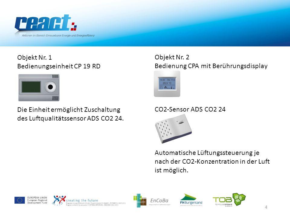 5 Objekt Nr.1 Manuel konstant eingestellte Leistung Verbrauch – 0,408 kWh Objekt Nr.