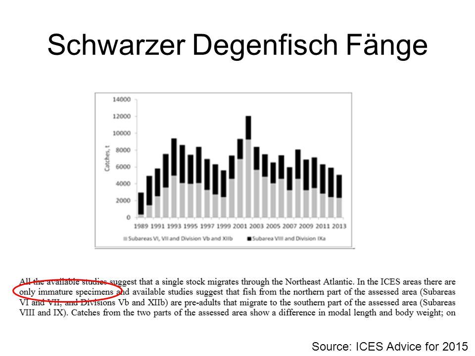 Schwarzer Degenfisch Fänge Source: ICES Advice for 2015