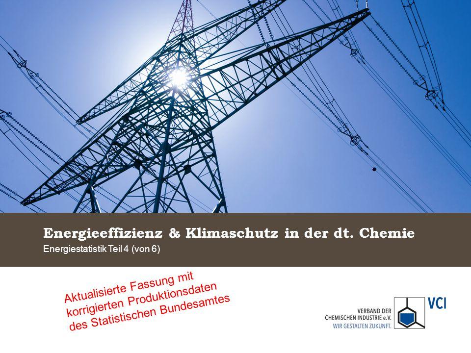 Energieeffizienz & Klimaschutz in der dt. Chemie Energiestatistik Teil 4 (von 6) Aktualisierte Fassung mit korrigierten Produktionsdaten des Statistis