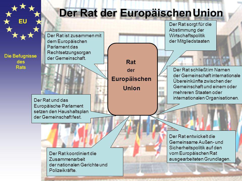 © Stefan Mayer / EK 2010 EU Die Befugnisse des Rats Rat der Europäischen Union Der Rat ist zusammen mit dem Europäischen Parlament das Rechtsetzungsorgan der Gemeinschaft.