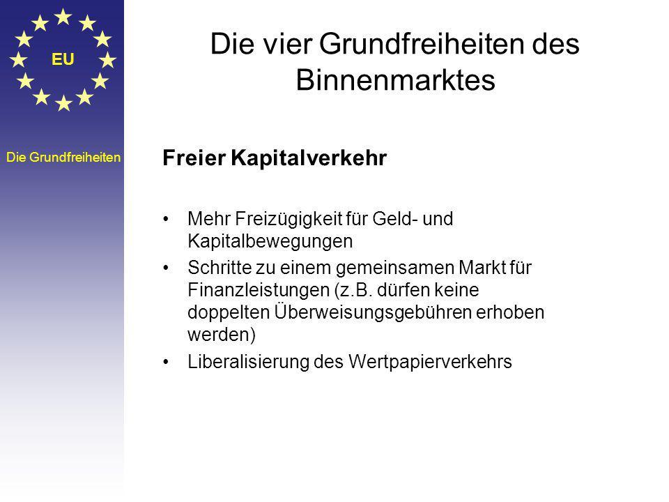 EU Die Grundfreiheiten Die vier Grundfreiheiten des Binnenmarktes Freier Kapitalverkehr Mehr Freizügigkeit für Geld- und Kapitalbewegungen Schritte zu einem gemeinsamen Markt für Finanzleistungen (z.B.