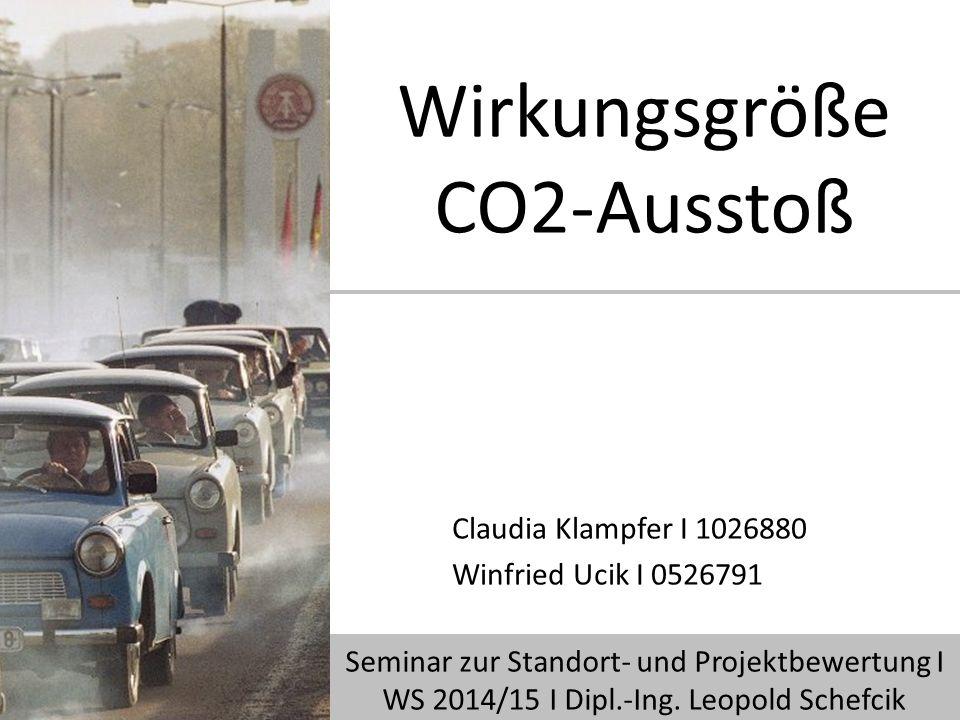 Wirkungsgröße CO2-Ausstoß Claudia Klampfer I 1026880 Winfried Ucik I 0526791 Seminar zur Standort- und Projektbewertung I WS 2014/15 I Dipl.-Ing.