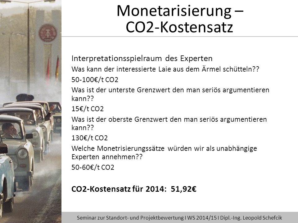 Interpretationsspielraum des Experten Was kann der interessierte Laie aus dem Ärmel schütteln?? 50-100€/t CO2 Was ist der unterste Grenzwert den man s