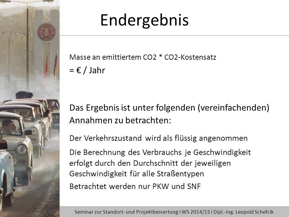 Masse an emittiertem CO2 * CO2-Kostensatz = € / Jahr Das Ergebnis ist unter folgenden (vereinfachenden) Annahmen zu betrachten: Der Verkehrszustand wi