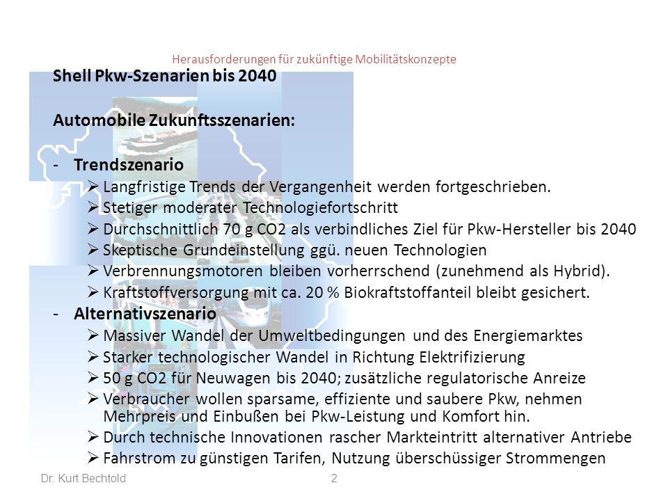 Herausforderungen für zukünftige Mobilitätskonzepte Shell Pkw-Szenarien bis 2040 Automobile Zukunftsszenarien: -Trendszenario  Langfristige Trends de