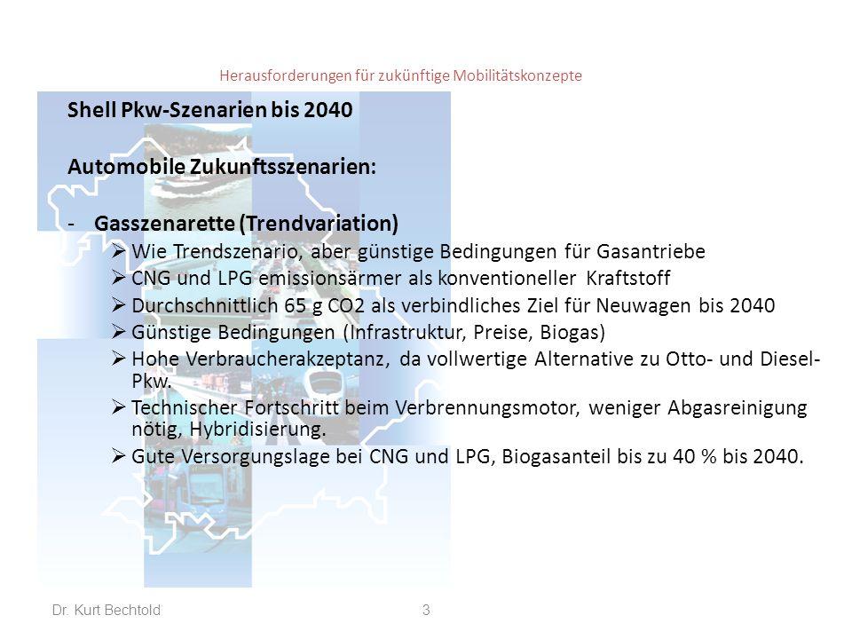 Herausforderungen für zukünftige Mobilitätskonzepte Shell Pkw-Szenarien bis 2040 Automobile Zukunftsszenarien: -Gasszenarette (Trendvariation)  Wie Trendszenario, aber günstige Bedingungen für Gasantriebe  CNG und LPG emissionsärmer als konventioneller Kraftstoff  Durchschnittlich 65 g CO2 als verbindliches Ziel für Neuwagen bis 2040  Günstige Bedingungen (Infrastruktur, Preise, Biogas)  Hohe Verbraucherakzeptanz, da vollwertige Alternative zu Otto- und Diesel- Pkw.