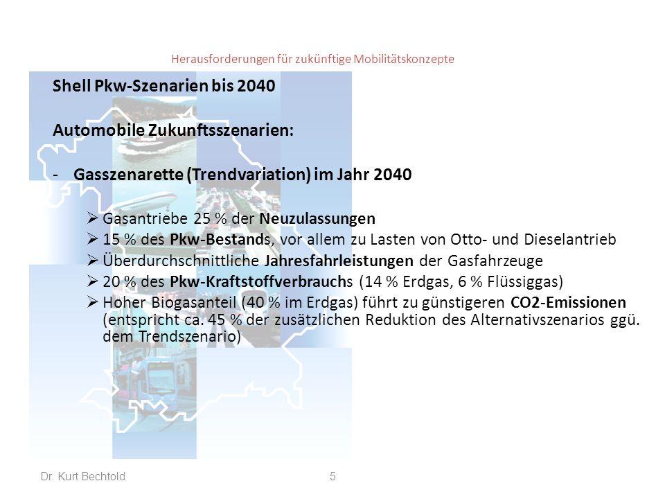 Herausforderungen für zukünftige Mobilitätskonzepte Shell Pkw-Szenarien bis 2040 Automobile Zukunftsszenarien: -Gasszenarette (Trendvariation) im Jahr 2040  Gasantriebe 25 % der Neuzulassungen  15 % des Pkw-Bestands, vor allem zu Lasten von Otto- und Dieselantrieb  Überdurchschnittliche Jahresfahrleistungen der Gasfahrzeuge  20 % des Pkw-Kraftstoffverbrauchs (14 % Erdgas, 6 % Flüssiggas)  Hoher Biogasanteil (40 % im Erdgas) führt zu günstigeren CO2-Emissionen (entspricht ca.