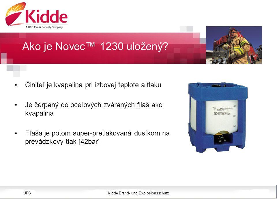 Kidde Brand- und ExplosionsschutzUFS Bild einfügen Höhe: 3,45 cm (Größe) Position vertikal: 2,4 cm Činiteľ je kvapalina pri izbovej teplote a tlaku Je čerpaný do oceľových zváraných fliaš ako kvapalina Fľaša je potom super-pretlakovaná dusíkom na prevádzkový tlak [42bar] Ako je Novec™ 1230 uložený