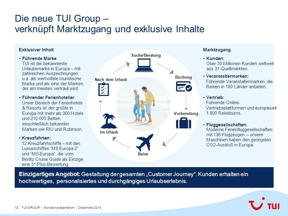"""12 Die neue TUI Group – verknüpft Marktzugang und exklusive Inhalte Einzigartiges Angebot: Gestaltung der gesamten """"Customer Journey"""". Kunden erhalten"""