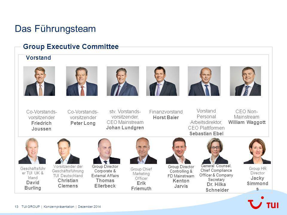 13 Das Führungsteam Group Executive Committee Geschäftsführ er TUI UK & Irland David Burling Vorsitzender der Geschäftsführung TUI Deutschland Christi