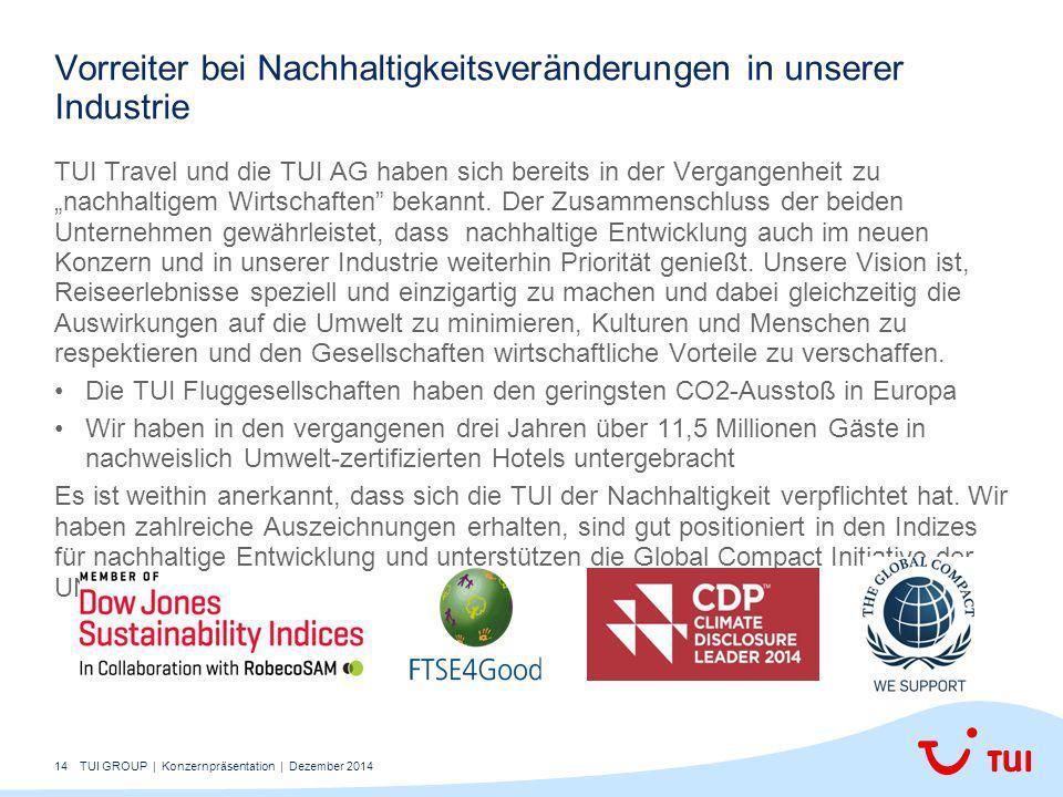 """14 TUI Travel und die TUI AG haben sich bereits in der Vergangenheit zu """"nachhaltigem Wirtschaften bekannt."""
