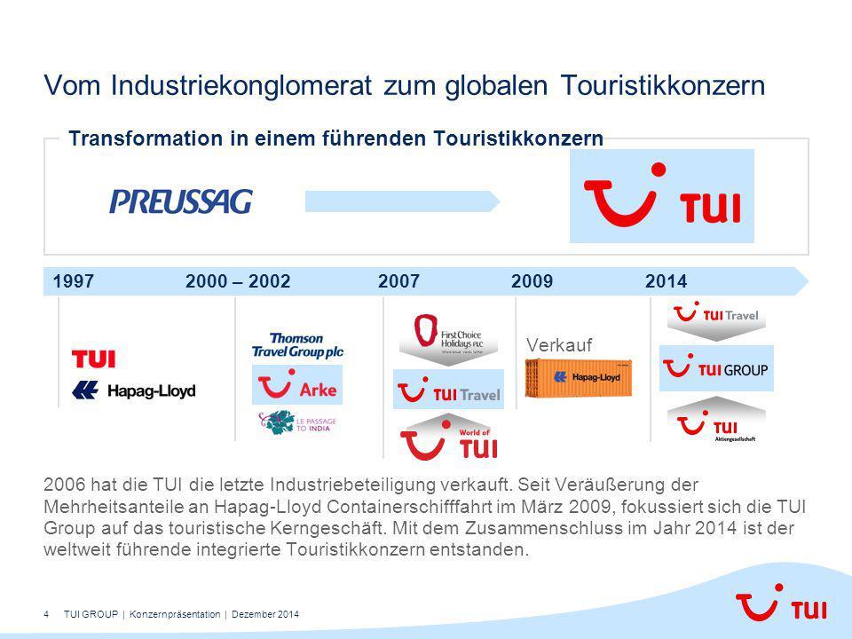 4 2006 hat die TUI die letzte Industriebeteiligung verkauft. Seit Veräußerung der Mehrheitsanteile an Hapag-Lloyd Containerschifffahrt im März 2009, f
