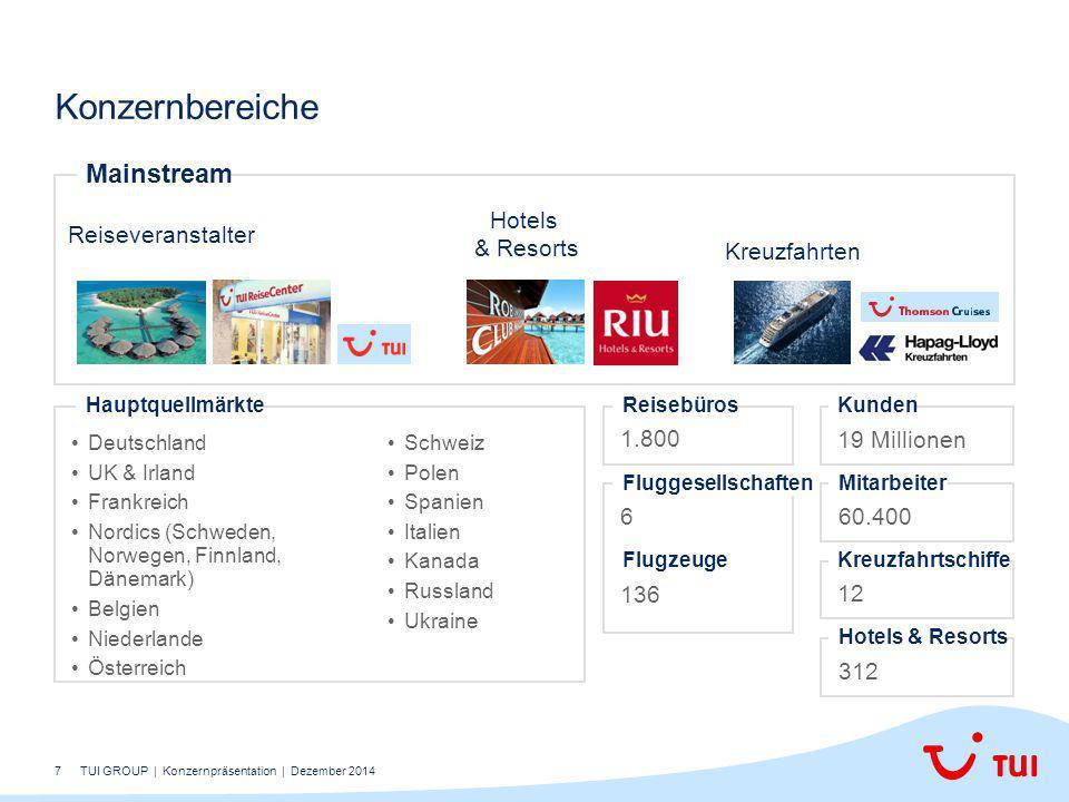 7 Konzernbereiche Deutschland UK & Irland Frankreich Nordics (Schweden, Norwegen, Finnland, Dänemark) Belgien Niederlande Österreich Hauptquellmärkte