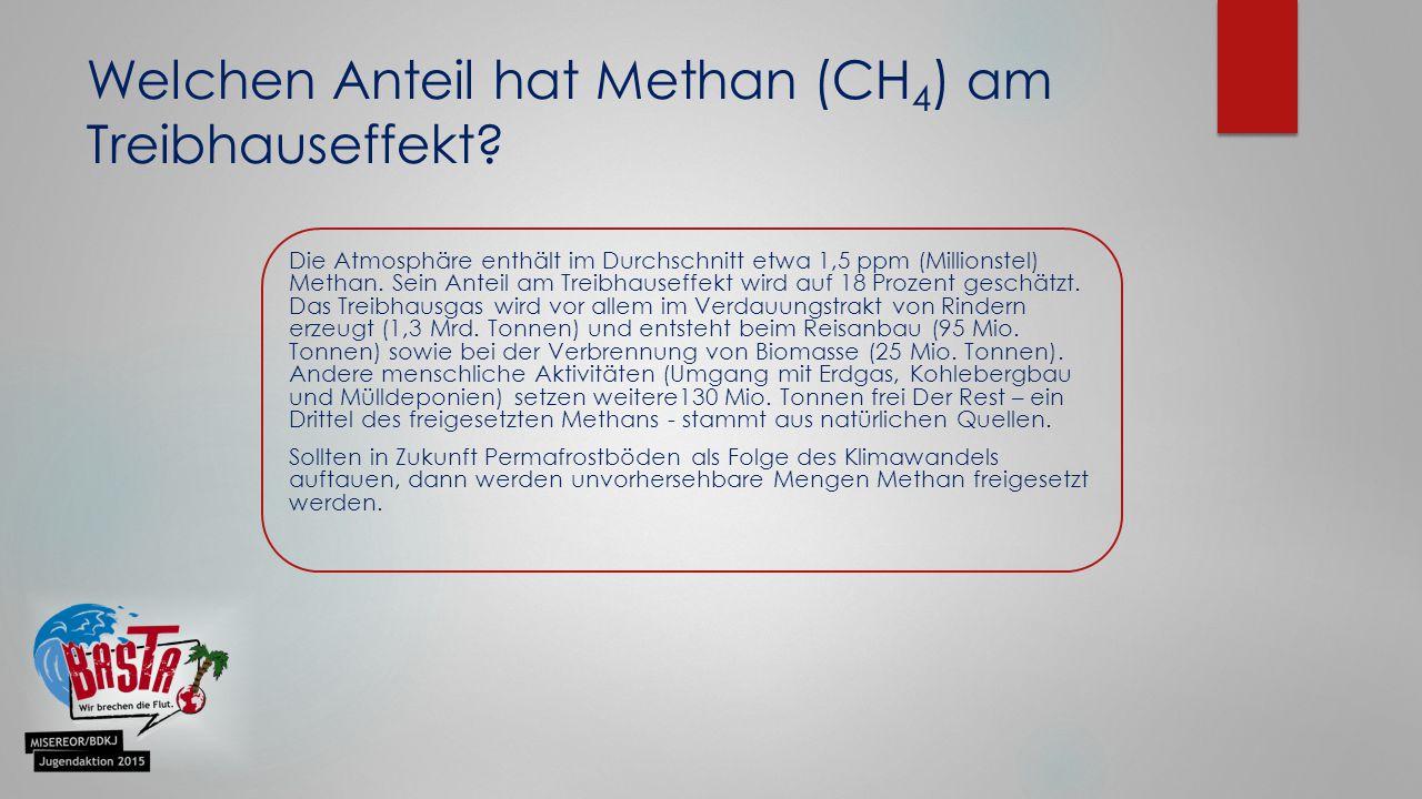Die Atmosphäre enthält im Durchschnitt etwa 1,5 ppm (Millionstel) Methan.