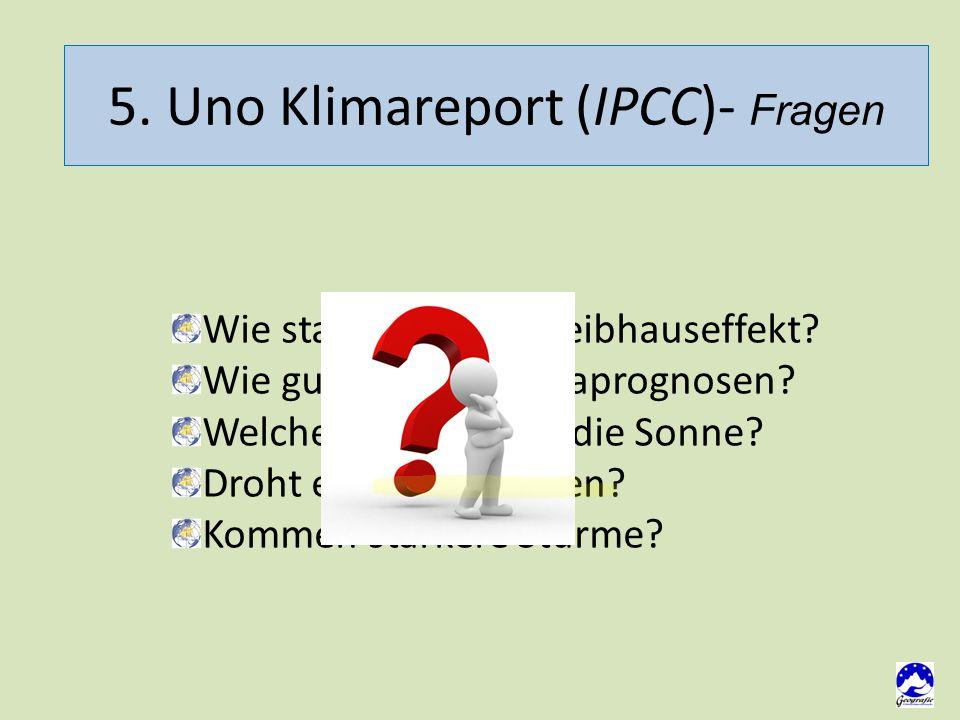 5. Uno Klimareport (IPCC)- Fragen Wie stark wird der Treibhauseffekt.