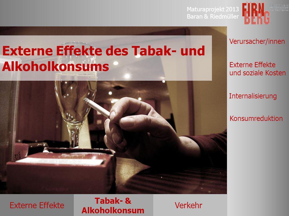 Maturaprojekt 2013 Baran & Riedmüller Externe EffekteVerkehr Tabak- & Alkoholkonsum Verursacher/innen Externe Effekte und soziale Kosten Internalisier
