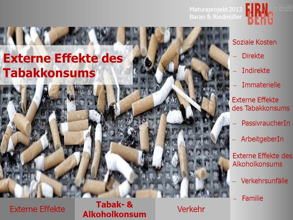 Maturaprojekt 2013 Baran & Riedmüller Externe EffekteVerkehr Tabak- & Alkoholkonsum Soziale Kosten Externe Effekte des Tabakkonsums Externe Effekte de