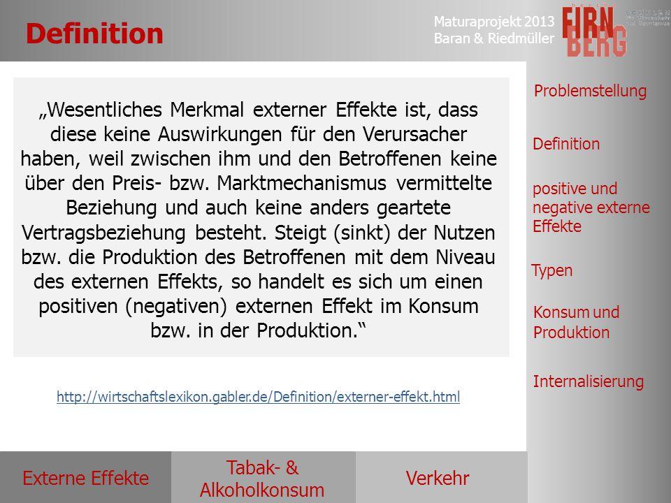 Maturaprojekt 2013 Baran & Riedmüller Externe EffekteVerkehr Tabak- & Alkoholkonsum Definition positive und negative externe Effekte Typen Konsum und