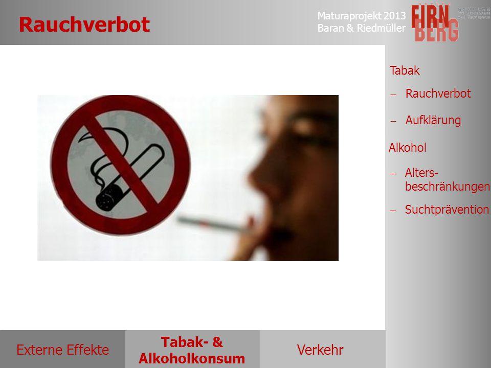 Maturaprojekt 2013 Baran & Riedmüller Externe EffekteVerkehr Tabak- & Alkoholkonsum Tabak Alkohol  Rauchverbot Rauchverbot  Aufklärung Aufklärung 