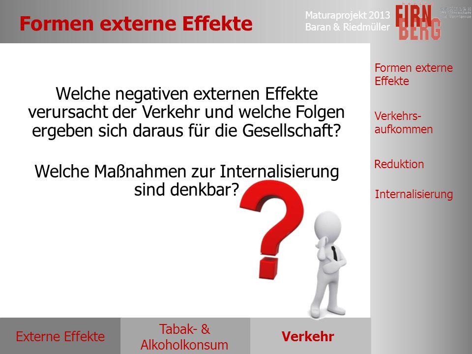 Maturaprojekt 2013 Baran & Riedmüller Externe EffekteVerkehr Tabak- & Alkoholkonsum Formen externe Effekte Verkehrs- aufkommen Reduktion Internalisier