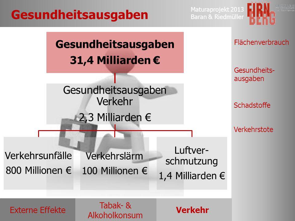 Maturaprojekt 2013 Baran & Riedmüller Externe EffekteVerkehr Tabak- & Alkoholkonsum Flächenverbrauch Gesundheits- ausgaben Schadstoffe Verkehrstote Ge