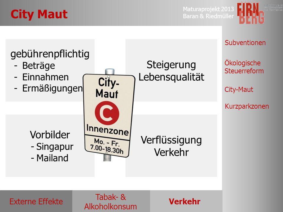 Maturaprojekt 2013 Baran & Riedmüller Externe EffekteVerkehr Tabak- & Alkoholkonsum Ökologische Steuerreform Subventionen City-Maut Kurzparkzonen City