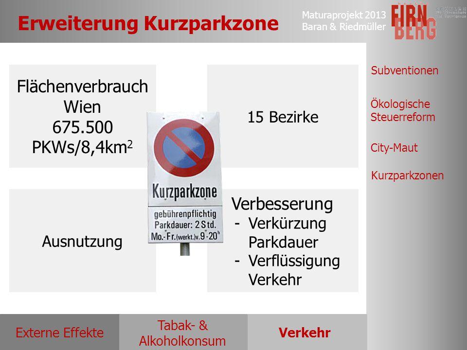 Maturaprojekt 2013 Baran & Riedmüller Externe EffekteVerkehr Tabak- & Alkoholkonsum Ökologische Steuerreform Subventionen City-Maut Kurzparkzonen Erwe