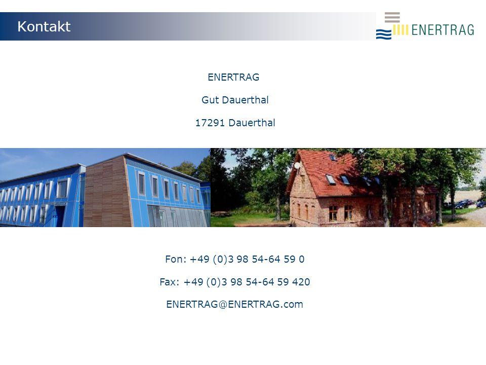 Kontakt ENERTRAG Gut Dauerthal 17291 Dauerthal Fon: +49 (0)3 98 54-64 59 0 Fax: +49 (0)3 98 54-64 59 420 ENERTRAG@ENERTRAG.com
