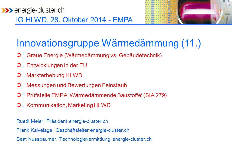 IG HLWD, 28.Oktober 2014 - EMPA Produziertes Volumen (m 3 ) oder installierte Fläche (m 2 ).