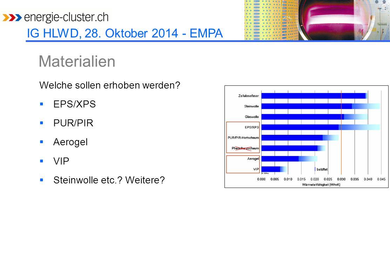 IG HLWD, 28. Oktober 2014 - EMPA Materialien Welche sollen erhoben werden.