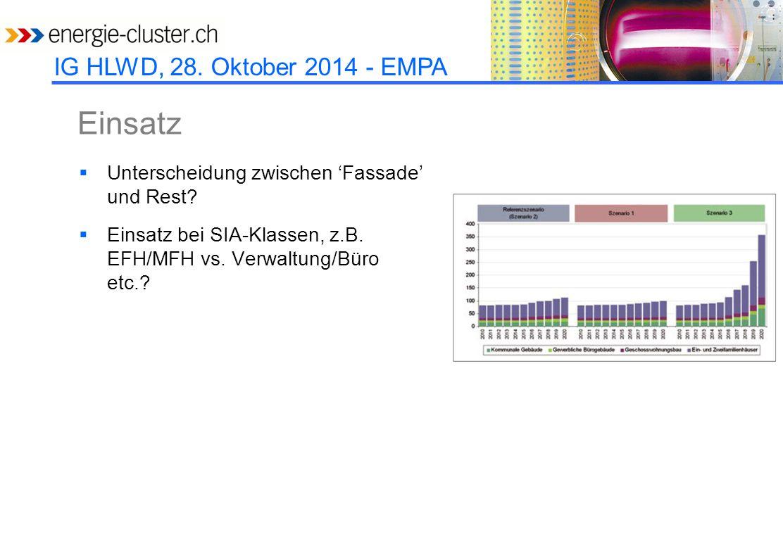 IG HLWD, 28. Oktober 2014 - EMPA Einsatz  Unterscheidung zwischen 'Fassade' und Rest.