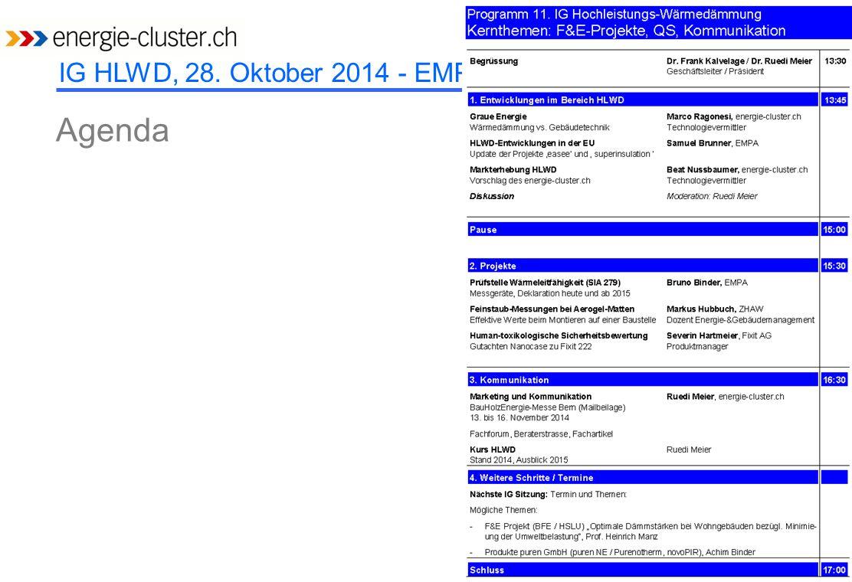 IG HLWD, 28. Oktober 2014 - EMPA Agenda