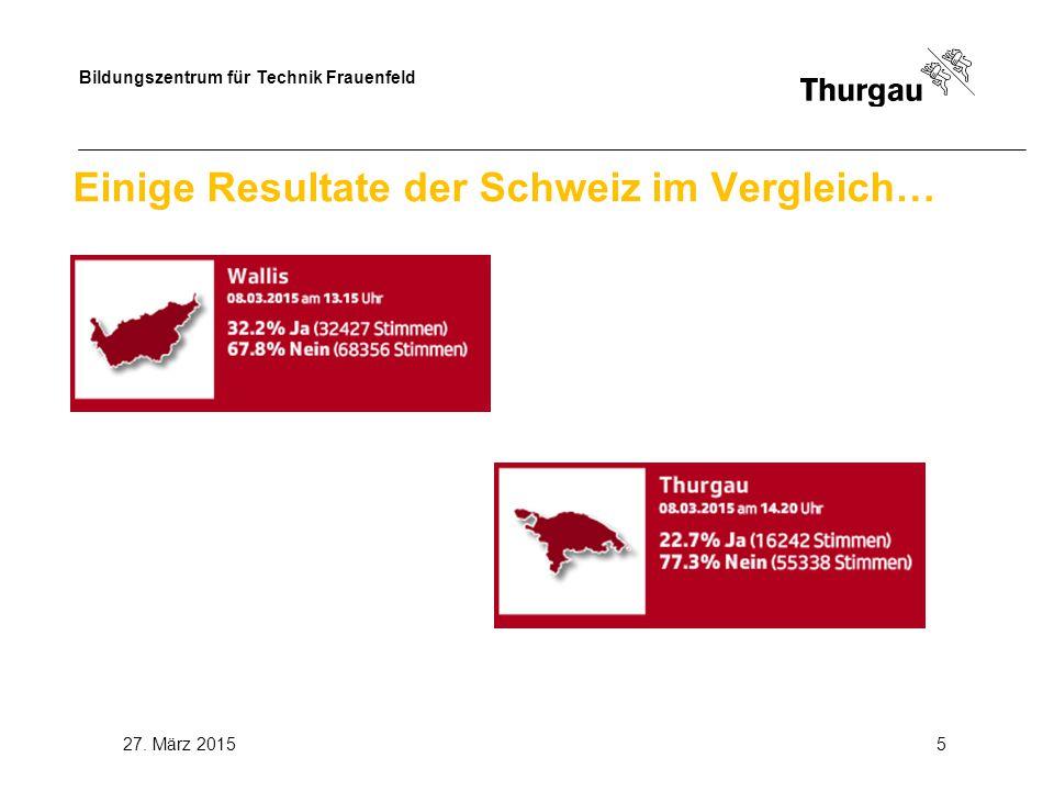 Bildungszentrum für Technik Frauenfeld 27. März 20155 Einige Resultate der Schweiz im Vergleich…